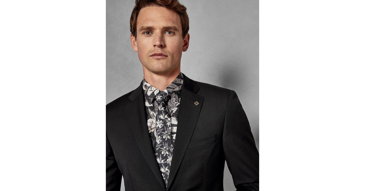 4d115f194 Lyst - Ted Baker Debonair Plain Wool Suit Jacket in Black for Men