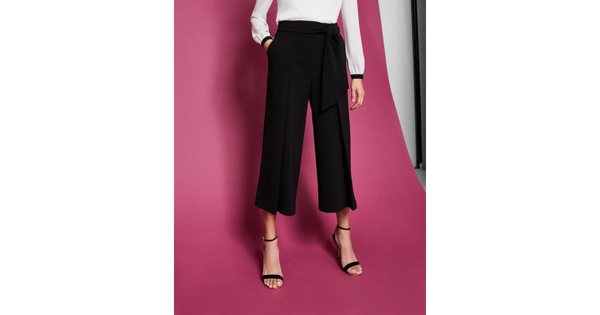 5387944b1 Lyst - Ted Baker Leli Tie Front Culottes in Black