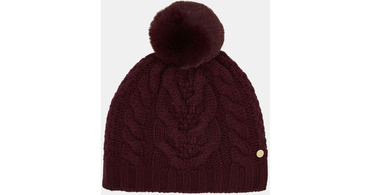 ad67c4130 Ted Baker Purple Quirsa Faux Fur Pom-pom Cable-knit Beanie