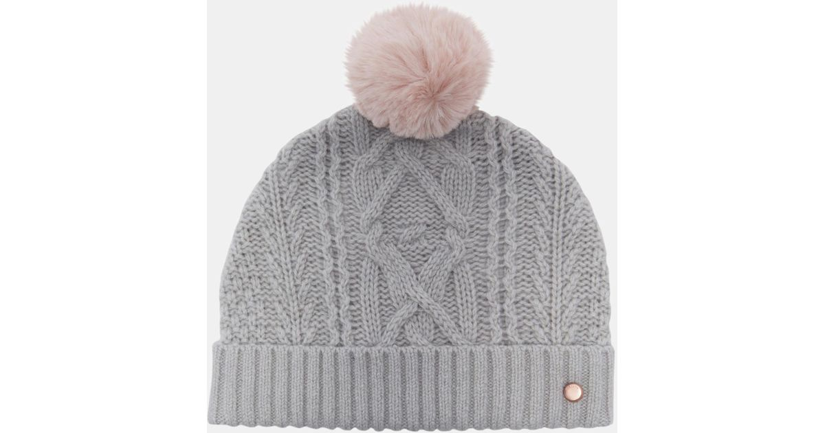 5975707e7 Ted Baker Gray Cable Knit Wool-blend Bobble Hat