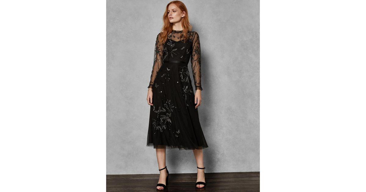 bae67d98ee Ted Baker Embellished Tulle Midi Dress in Black - Lyst