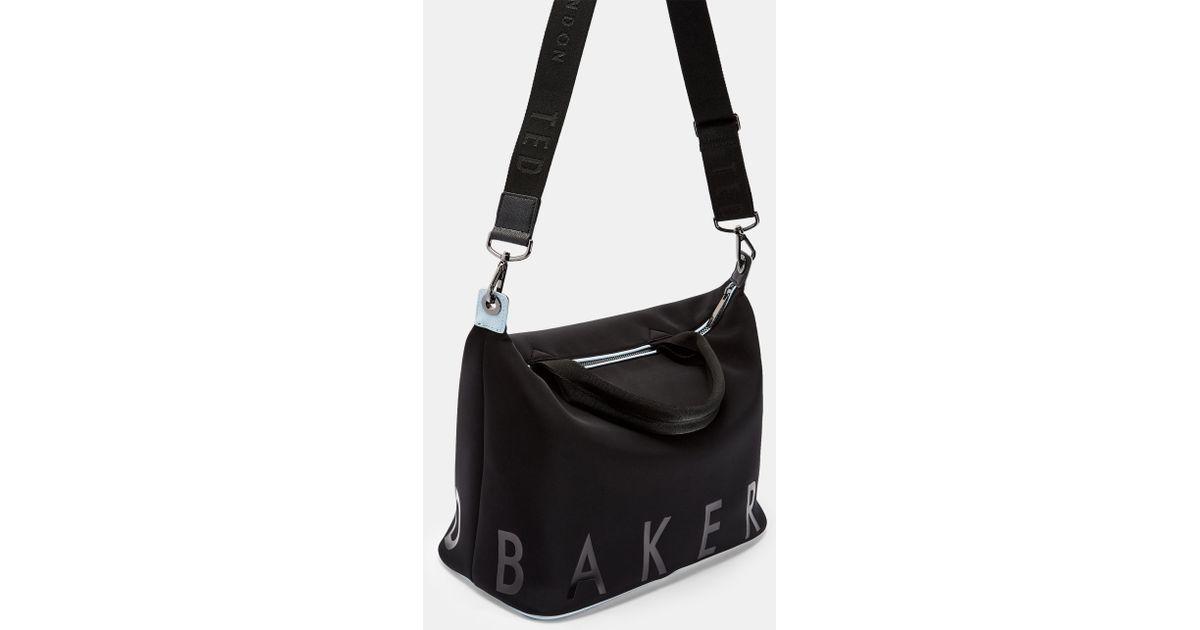 6adadf8a56 Ted Baker Branded Neoprene Small Tote Bag in Black - Lyst