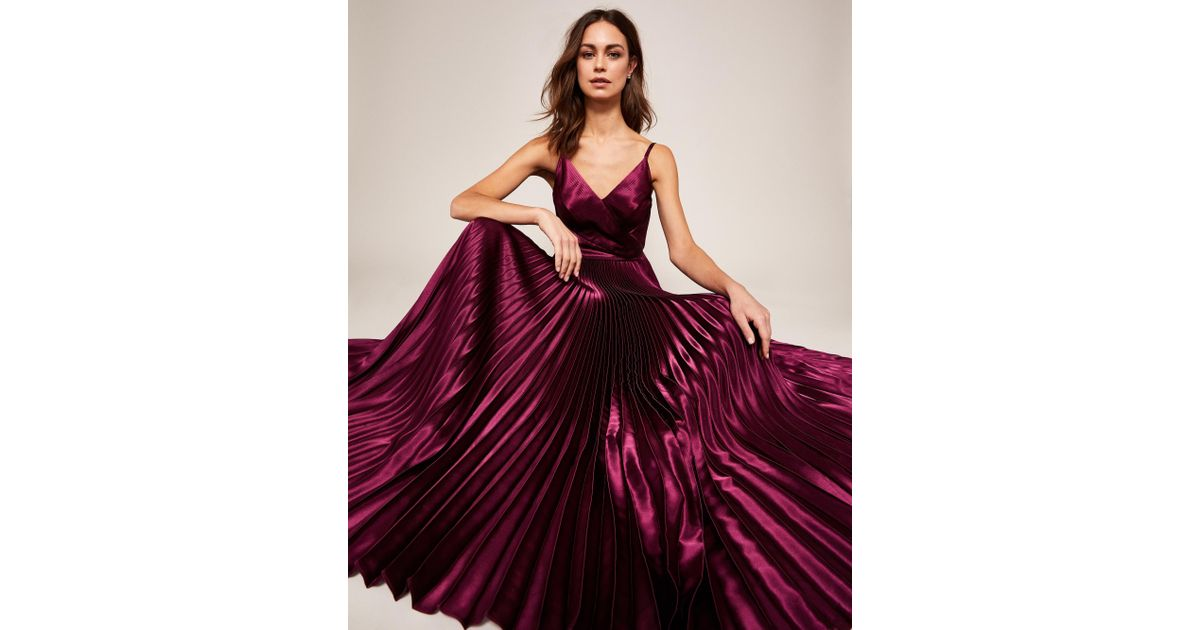 Ted Baker Pleated Satin Maxi Dress in Purple - Lyst