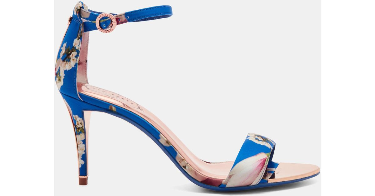 2f174b9ceb029 Ted Baker Printed Ankle Strap Heeled Sandals in Blue - Lyst