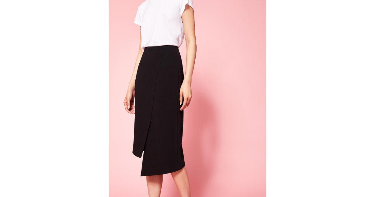 d08ba1c7cc40fc Ted Baker Wrap Pencil Skirt in Black - Lyst
