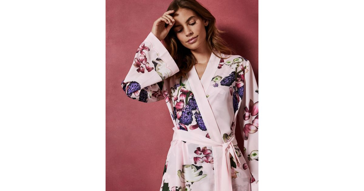 ced455a4044 Ted Baker Kensington Floral Kimono Robe in Pink - Lyst
