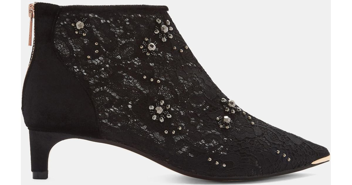 744144a93d Ted Baker Embellished Kitten Heel Boots in Black - Lyst