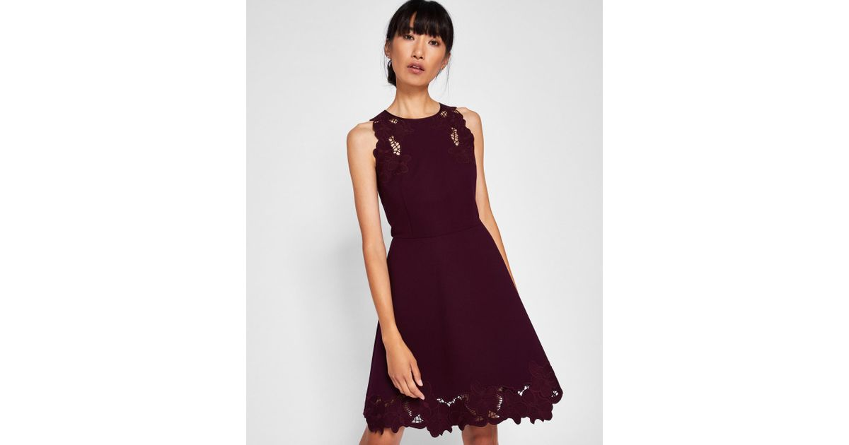 7d2660a9df0008 Ted Baker Embroidered Skater Dress in Purple - Lyst