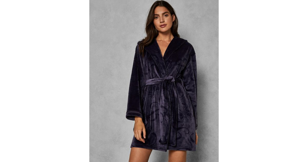 c0da2c422acb Ted Baker Hooded Embossed Dressing Gown in Gray - Lyst