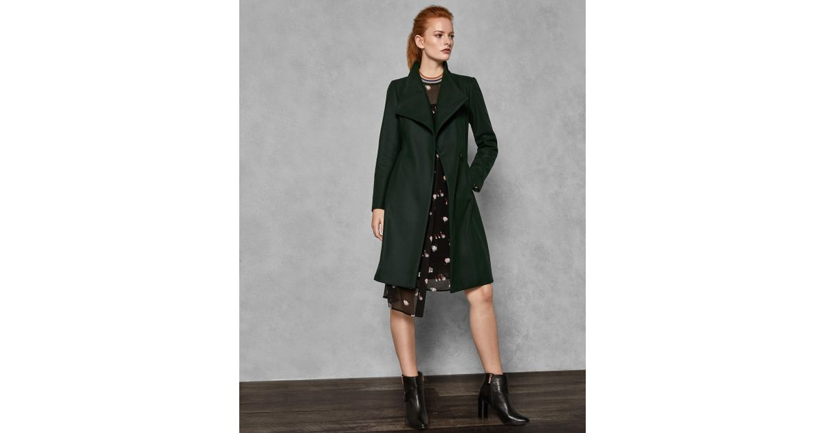 205545b11 Lyst - Ted Baker Belted High Neck Wool Coat in Green