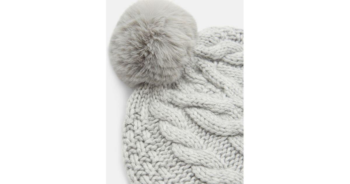 2755ce1f6 Ted Baker Gray Quirsa Cable Knit Pom Hat