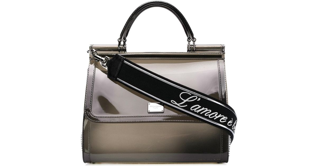 8f905df56021 Lyst - Dolce   Gabbana Miss Sicily Rubber Handbag in Black