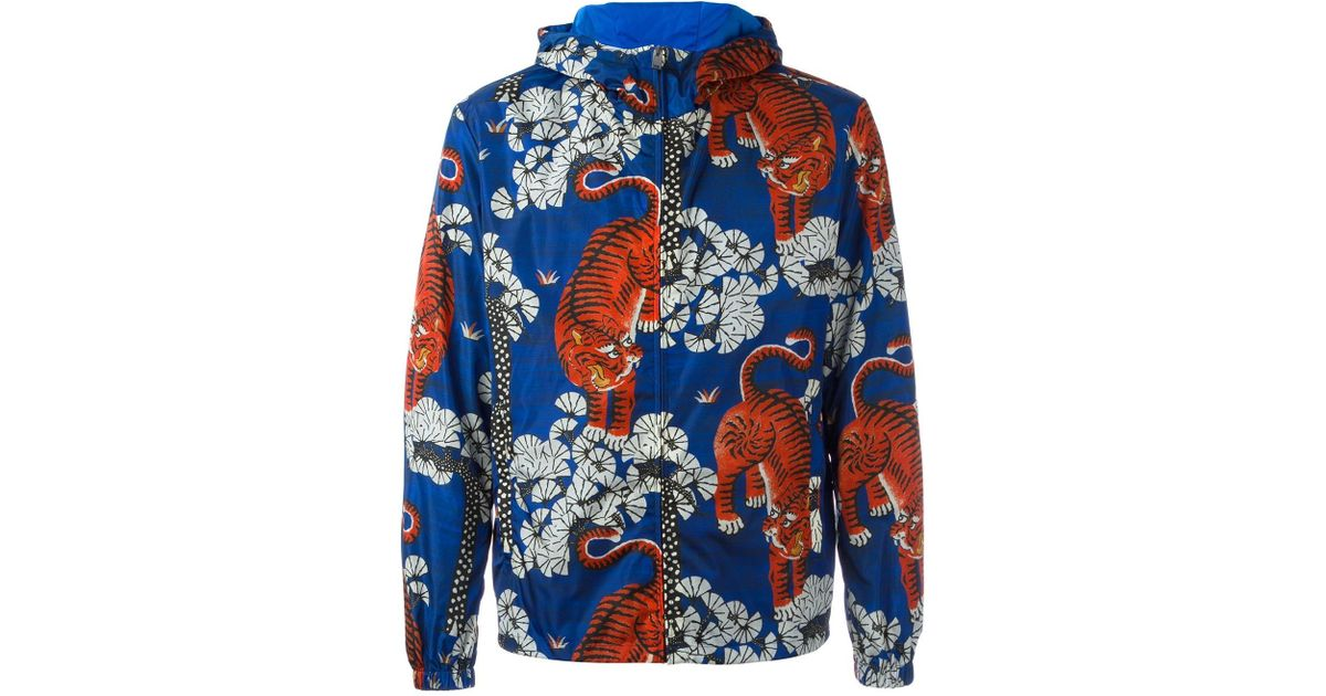 a7d6e3ba7 Gucci Bengal Tiger Print Jacket in Blue for Men - Lyst