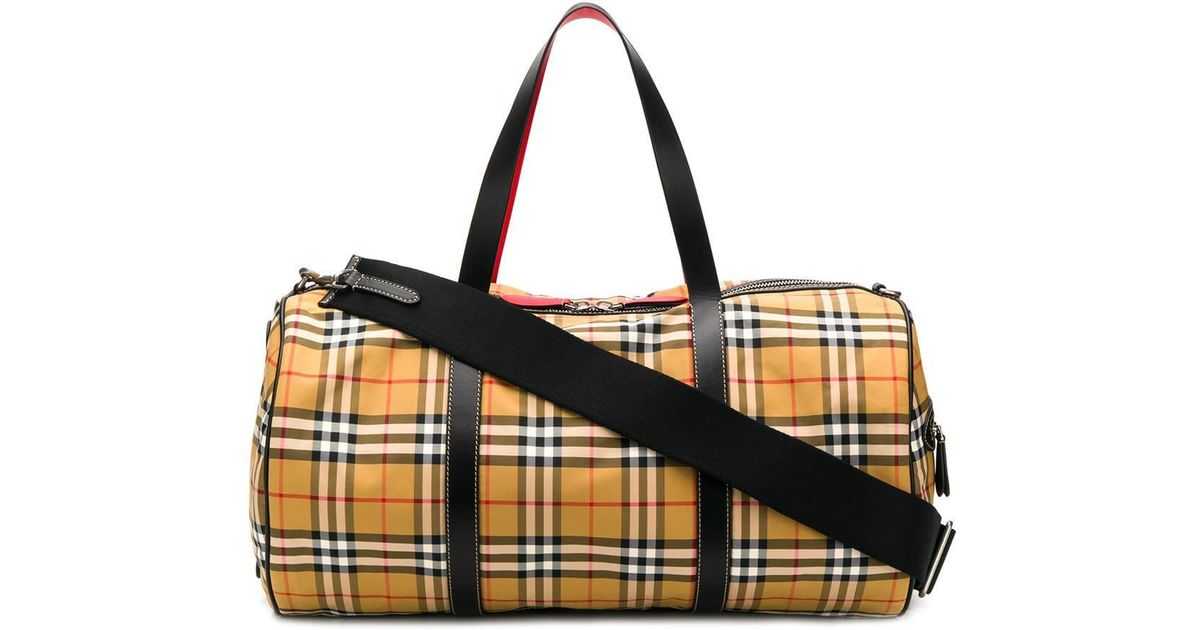 3f0b0775b6c5 Lyst - Burberry Check Kennedy Travel Bag in Natural for Men