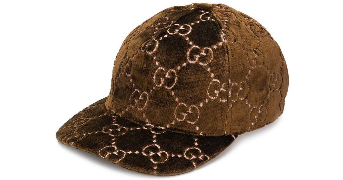 Lyst - Gucci Gg Embroidered Velvet Cap in Brown - Save 42% 8cc6a3da1