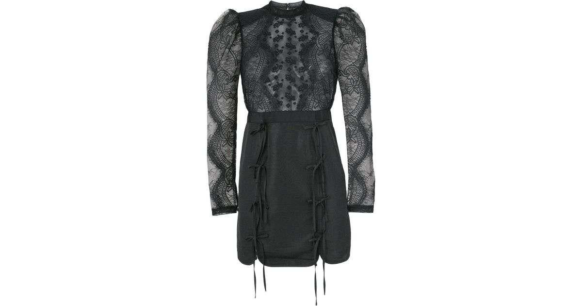 85a06aa3c Self-Portrait Fine Lace Applique Dress in Black - Lyst