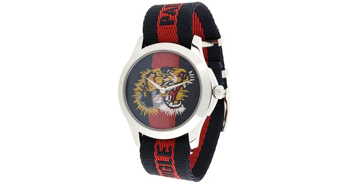Gucci Blue Watch With Tiger Clock Face