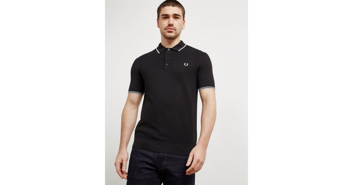 shop sneakers top design Lyst - Fred Perry Mens Short Sleeve Knitted Polo Shirt Black in ...