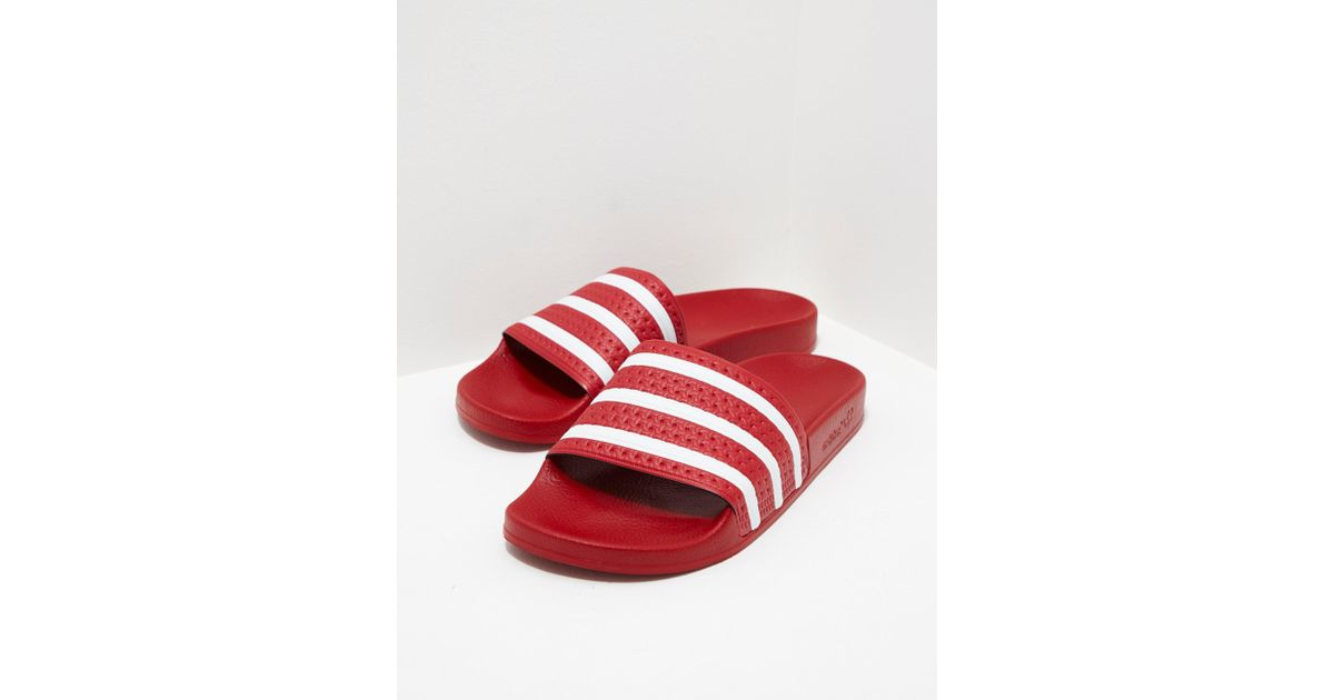 cc178f77eaca65 adidas Originals Mens Adilette Slides Red in Red for Men - Lyst