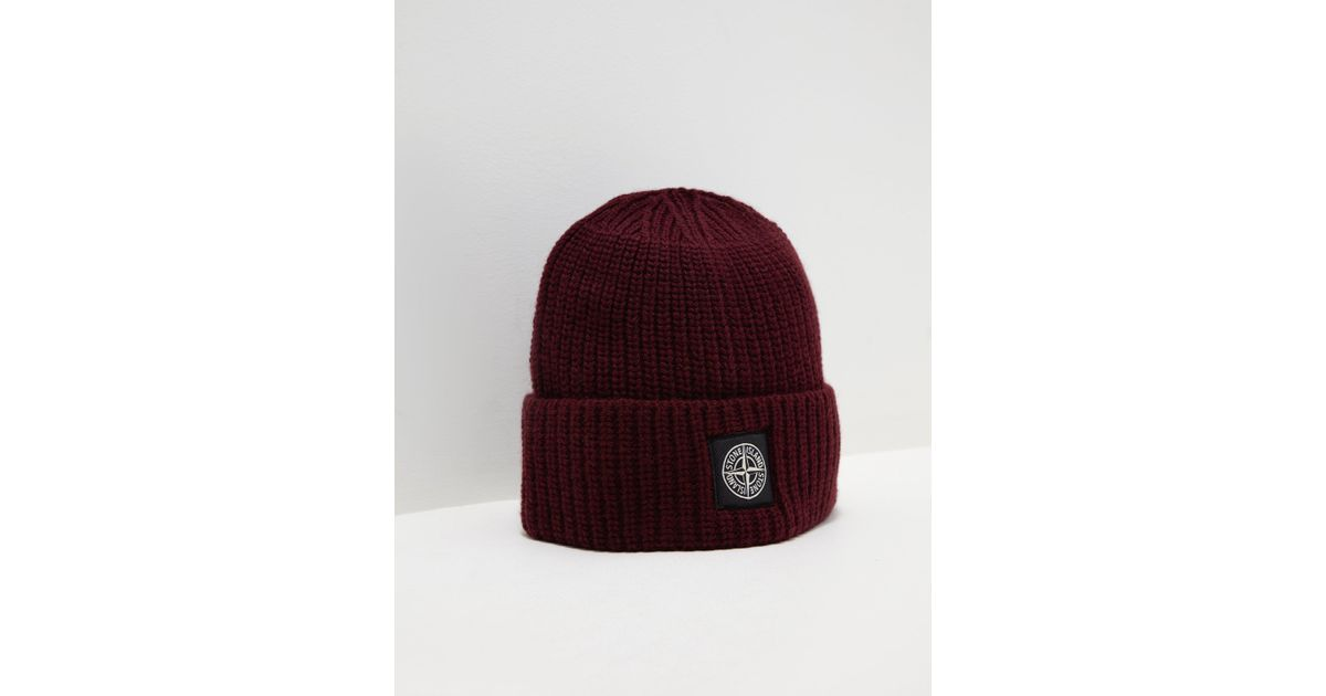 a3d887c8554 ... navy rib knit 6115N09C6 beanie hat SI3016 outlet store d2a34 cbdb6  Stone  Island Mens Patch Beanie Red in Red for Men - Lyst recognized brands 004a1  ...