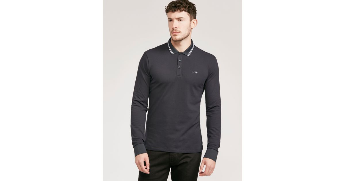 12c67689 Armani Jeans Modern Fit Long Sleeve Polo Shirt Navy Blue for men