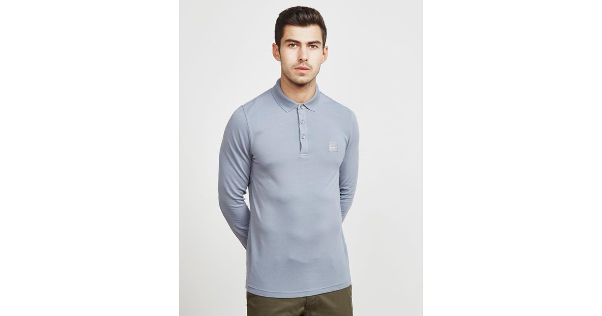 7f49d4b0 Lyst - BOSS Passerby Long Sleeve Polo Shirt Grey in Gray for Men