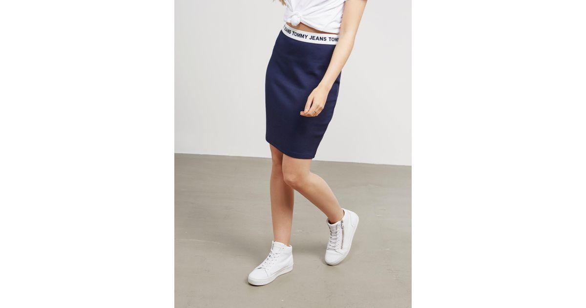 2b8f666f25 Lyst - Tommy Hilfiger Womens Logo Pencil Skirt Navy in Blue