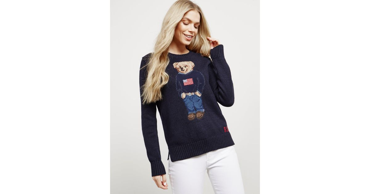 Teddy Blue Womens Polo Ralph Bear Online Exclusive Knitted Jumper Lauren Navy DI29WEHY