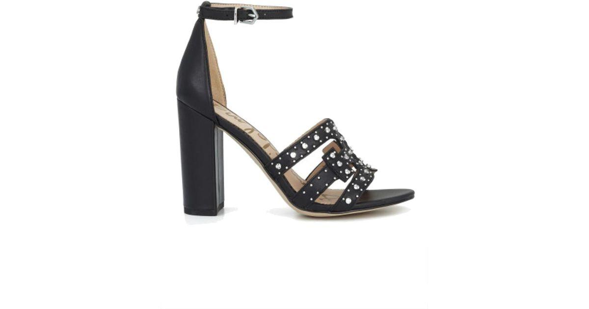 517d3431dfe Lyst - Sam Edelman Yasha Studded Block Heel Sandal in Black