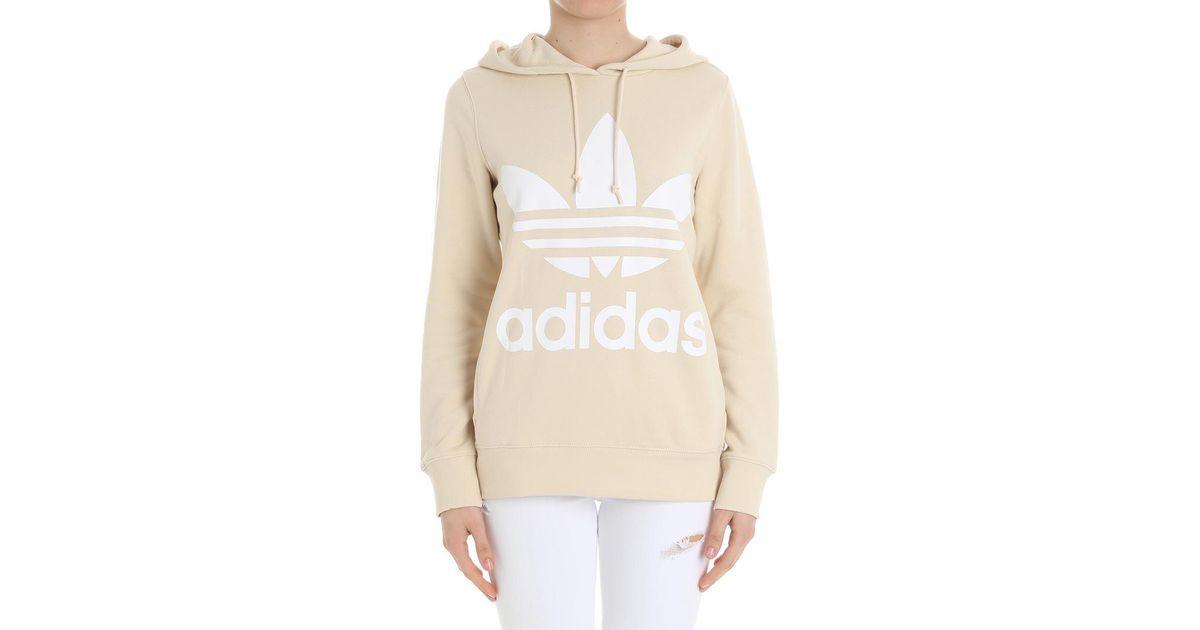 deb53fdb8de7 adidas Originals Cream-colored Trefoil Hoodie Sweatshirt in Natural - Lyst