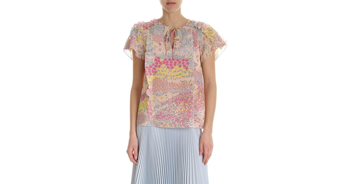 Silk Floral Valentino Top Pattern In Red With Lyst Pink I6byYf7vg