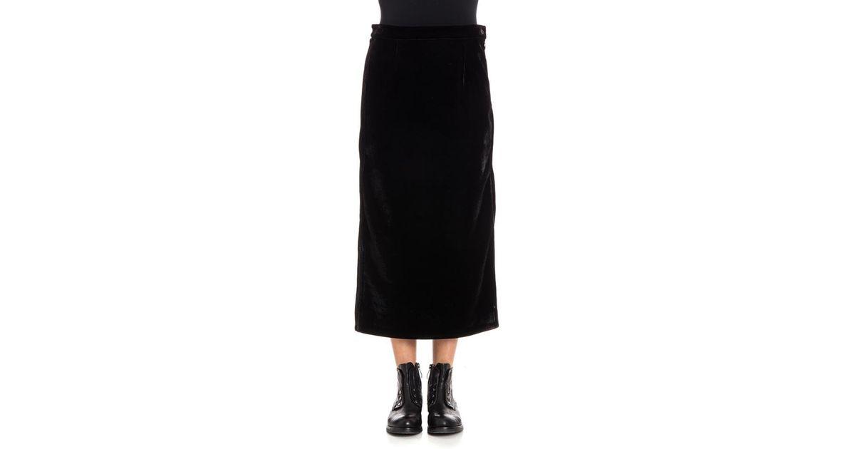 5fb7d6584 MM6 by Maison Martin Margiela Velvet Skirt in Black - Lyst