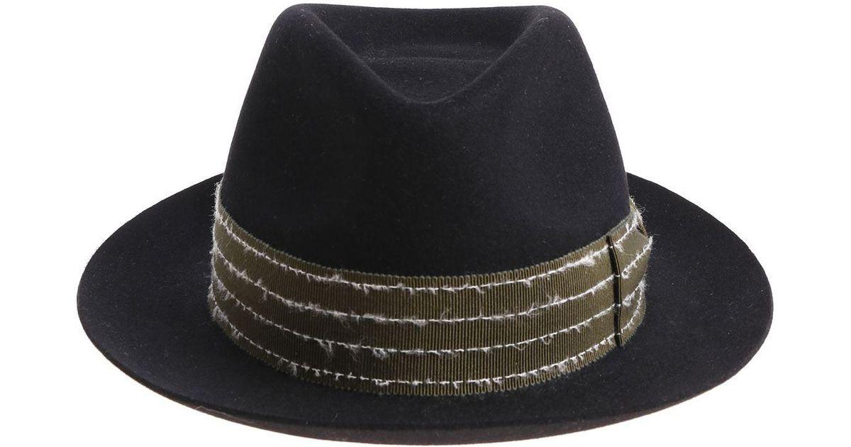 4e3d49ad5da84c Borsalino Rasato Black Hat With Green Insert in Black for Men - Lyst