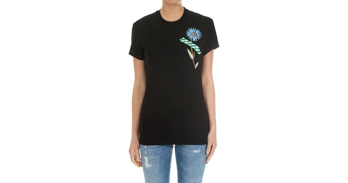 ad45efc6 Off-White c/o Virgil Abloh Flower Tape T-shirt in Black - Lyst