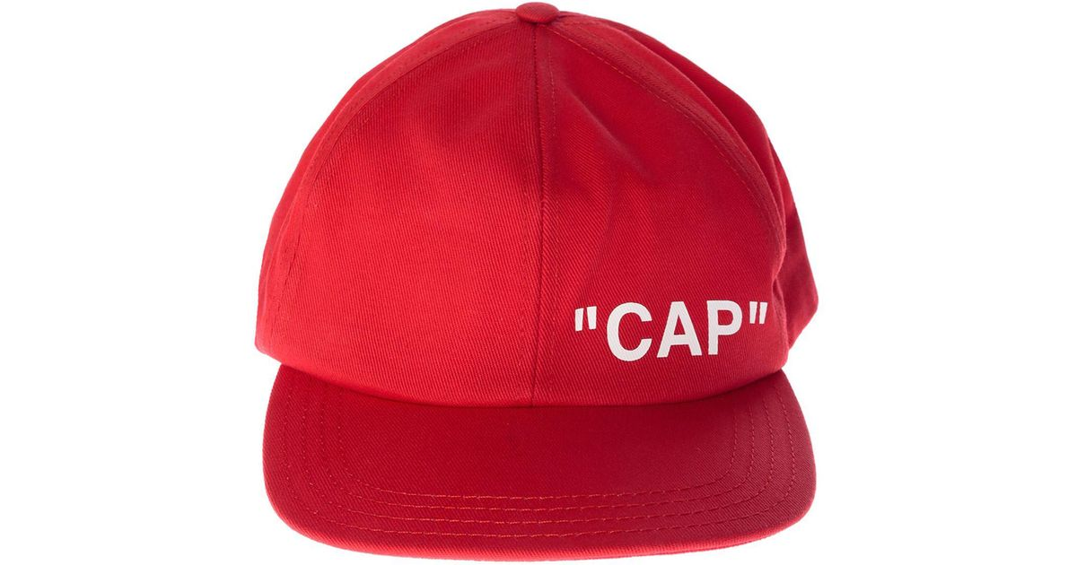 b1fbb13b Off-White c/o Virgil Abloh Red Quote Baseball Cap in White for Men - Lyst