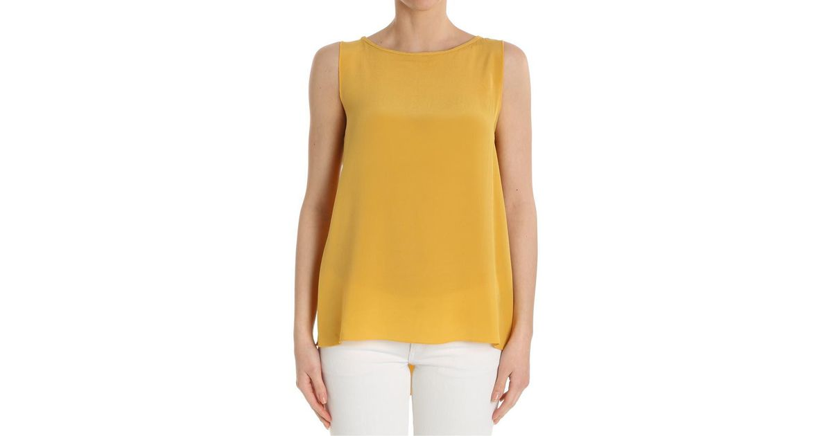 6d7f38da17f06 Lyst - Ottod Ame Mustard-colored Silk Top in Yellow