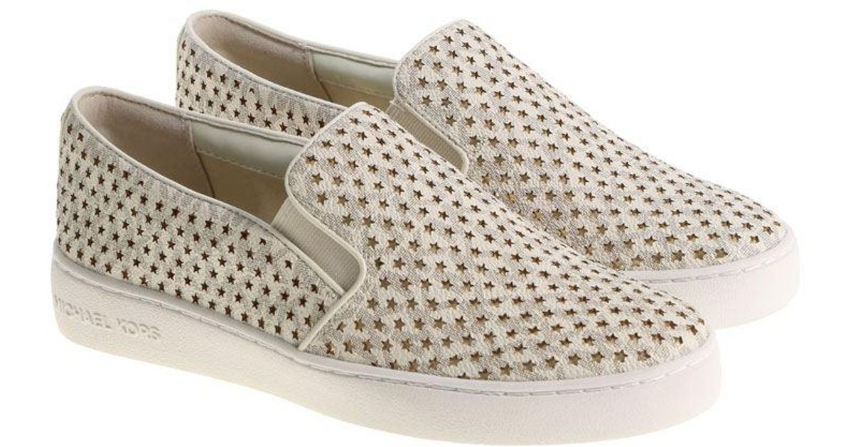 Lyst Michael Kors Cream Colored Keaton Slip On With Golden Stars In Natural
