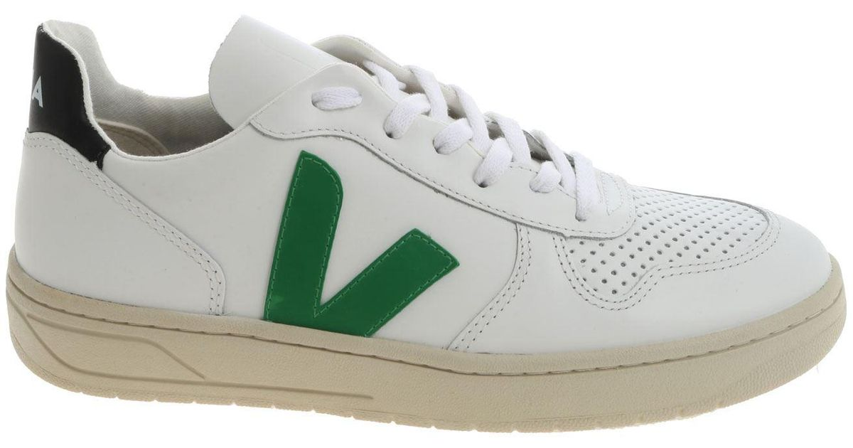 Veja Leather White And Green \