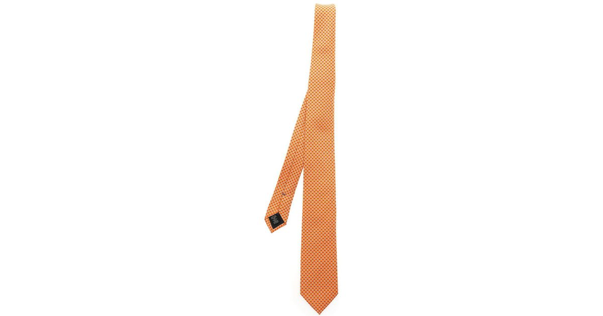 f8d9ea09 Ermenegildo Zegna - Orange Tie With Light Blue And Red Motif for Men - Lyst