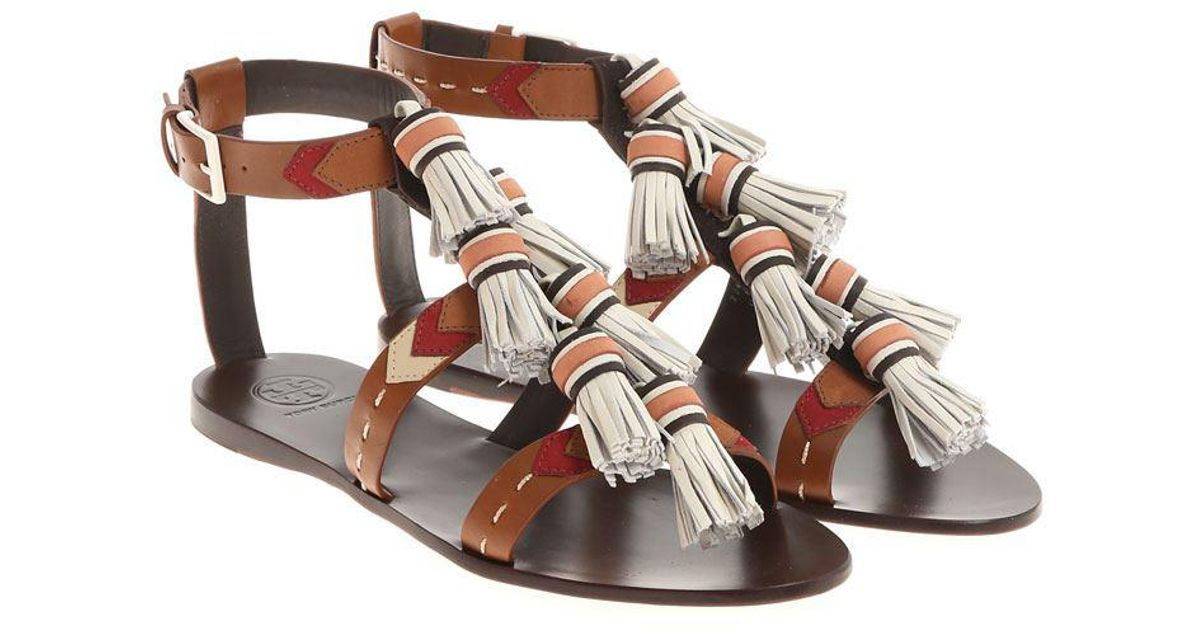 d16016ec1c64 Lyst - Tory Burch Brown And White Weaver Sandals in Brown