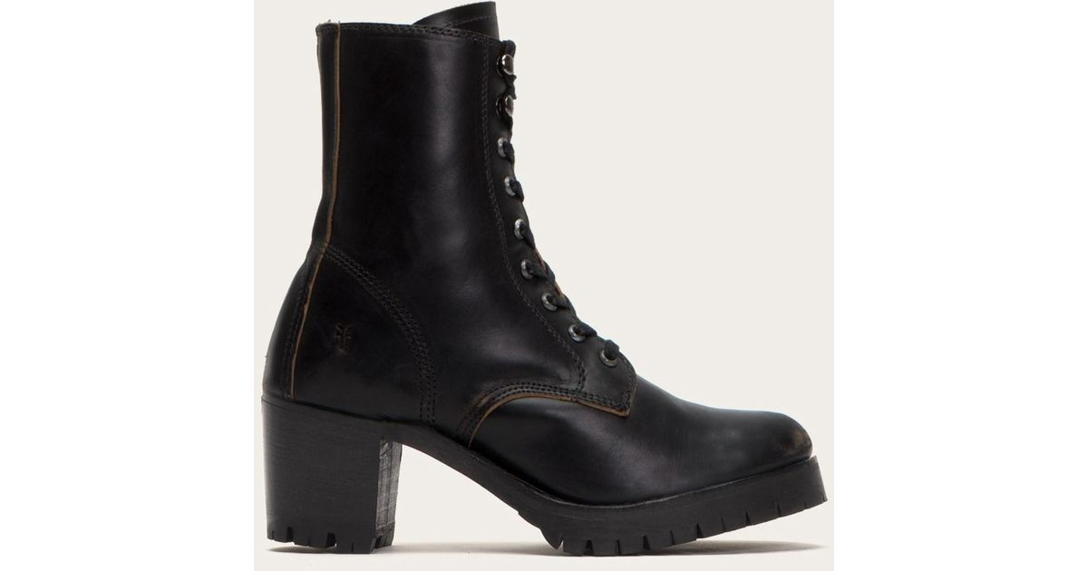 Frye Leather Sabrina Moto Lace Up in