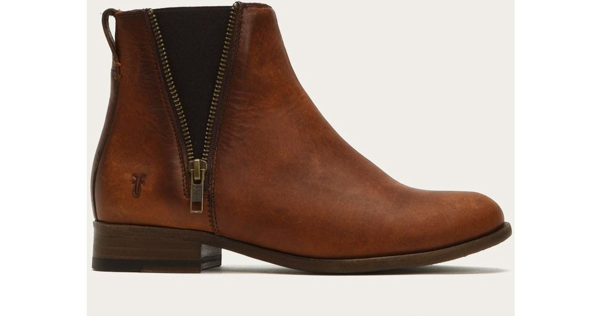 Frye Leather Carly Zip Chelsea Boots