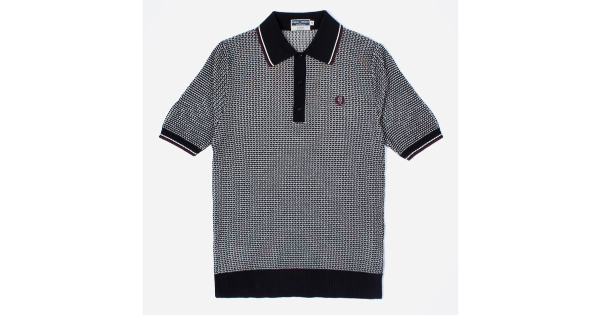 312ec1c9 Lyst - Fred Perry Reissues Two Colour Texture Knitted Polo Shirt in Black  for Men