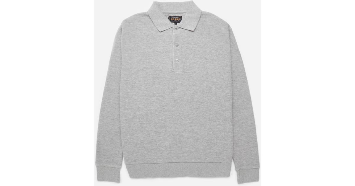 Beams Plus - Gray Long Sleeve Cotton Polo for Men - Lyst