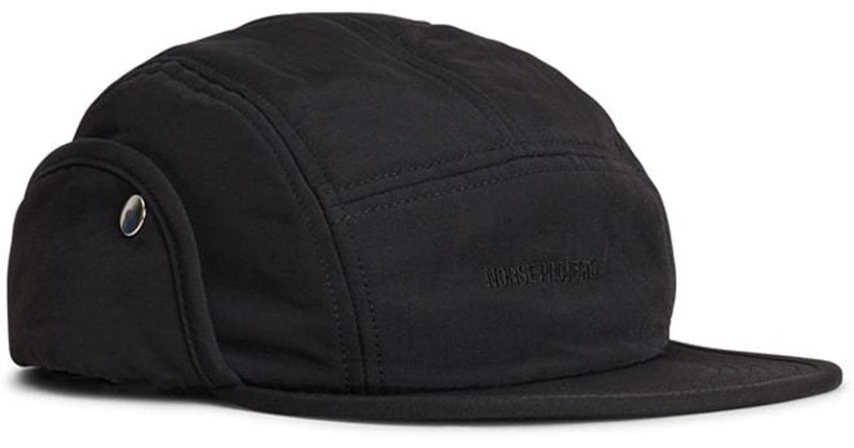 Lyst - Norse Projects Norse 6 Panel Ear Flap Nylon Black in Black for Men b977638628d3