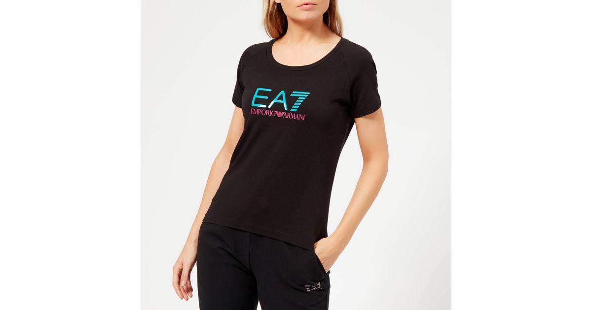 6bf7dc612 EA7 Train Logo Series Shiny Print T-shirt in Black - Lyst