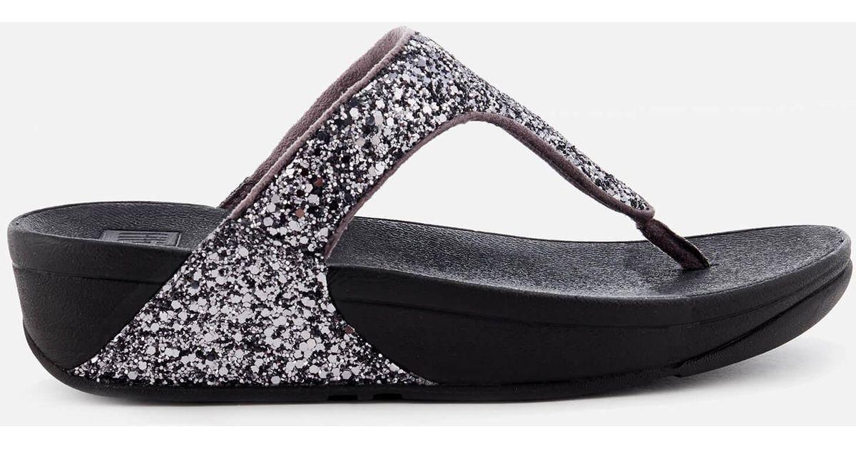 5606f57bbbfaa1 Fitflop Glitterball Toe Post Sandals in Metallic - Lyst