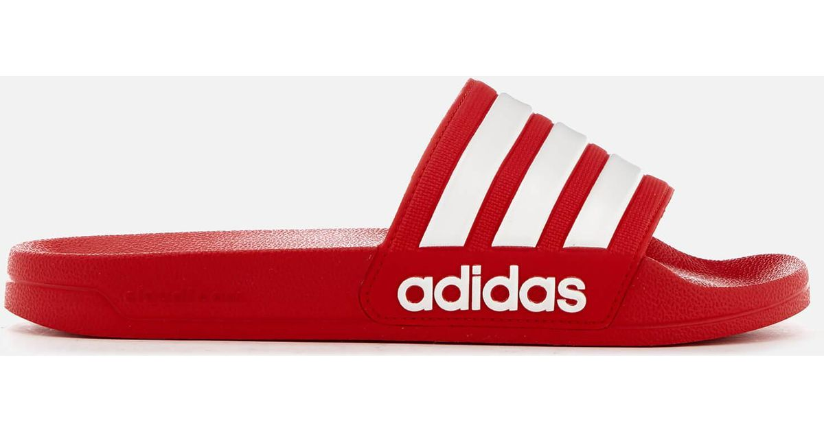 promo code 8f690 a51f3 adidas Adilette Shower Slides in Red for Men - Save 48% - Ly