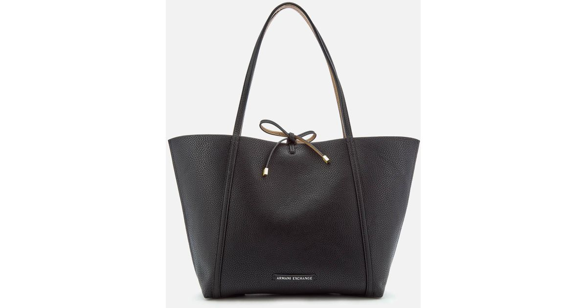 8ddbec37a438 Lyst - Armani Exchange Leather Reversible Tote Bag in Black