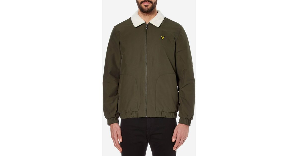 a43ca04c36c Lyst - Lyle   Scott Shearling Lined Bomber Jacket in Green for Men